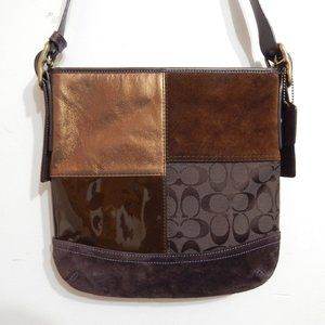 Coach Signature Brown Leather Canvas Crossbody Bag